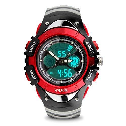 topcabin Multifunktions elektronische Verkauf Armbanduhr Jungen und Maedchen Mode und Persoenlichkeit Studenten Wasserdicht Double Time tauchen Uhren rot