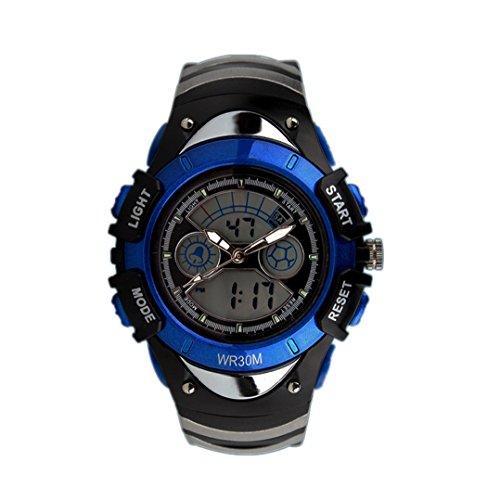 topcabin Multifunktions elektronische Verkauf Armbanduhr Jungen und Maedchen Mode und Persoenlichkeit Studenten Wasserdicht Double Time tauchen Uhren blau