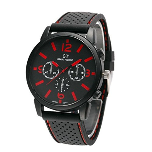 GT GT Sport Silikon Armband Armbanduhr Quarz Uhren rot