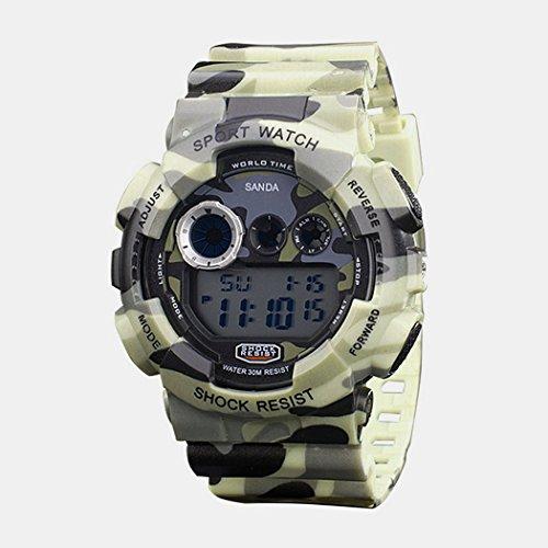 TOPCABIN 30m Wasserproof Digitalanzeige Quarz Multi Camouflage Uhr beige