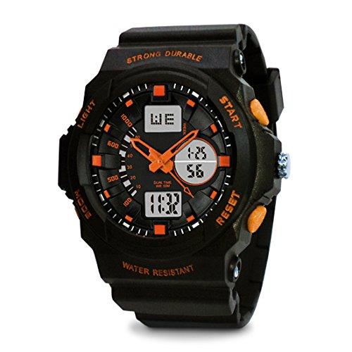 topcabin Swim Armbanduhr digital analog Jungen Maedchen Sport mit Alarm Stoppuhr chronograph 50 m Wasser Proof Armbanduhr Orange