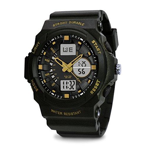 topcabin Swim Armbanduhr digital analog Jungen Maedchen Sport mit Alarm Stoppuhr chronograph 50 m Wasser Proof Armbanduhr Licht Gold