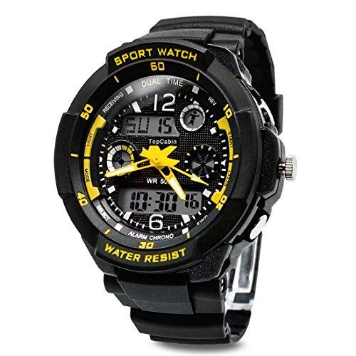 TOPCABIN Digital Analog Jungen Maedchen Sport Digital Uhr mit Alarm Stoppuhr Chronograph 50m Wasserdicht Gelb