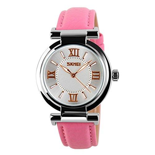topcabin Damen Maedchen Uhren Fashion PU Lederband wasserdicht fuer Damen pink