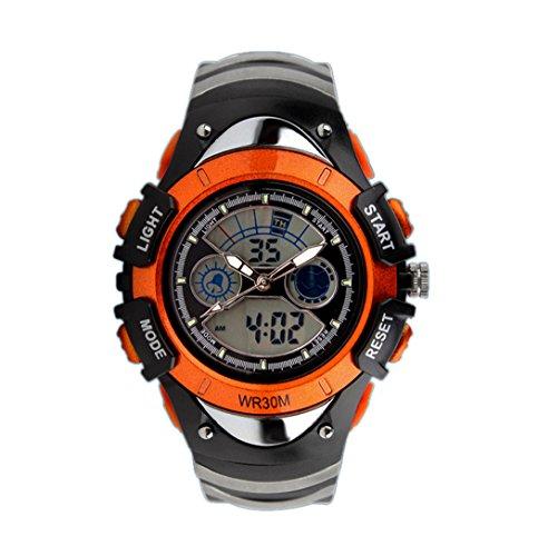 TOPCABIN Multifunktionale elektronische Armbanduhr fuer Jungen und Maedchen wasserdicht doppelte Zeitanzeige Tauchuhr Orange