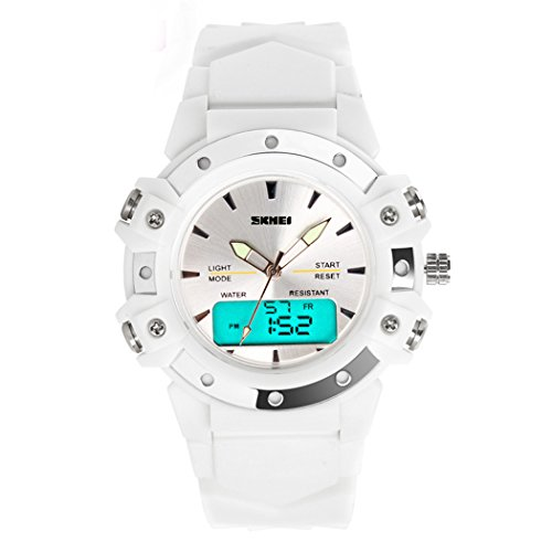 topcabin Frauen Herren Kinder Multifunktions Analog Digital LED Sport Dual Time Back Light Alarm Gummi Handgelenk watch white