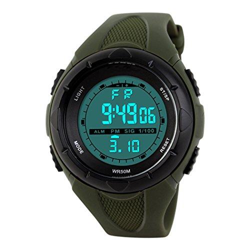 topcabin 50 m Wasserdicht Kinder Digital Sport Armbanduhr Boy Kid Girl LED Alarm Armbanduhr Armee gruen