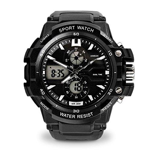 Topcabin 30 m wasserdichte Sport Armbanduhr digital analog mit Alarm Stoppuhr Chronograph Schwarz Weiss