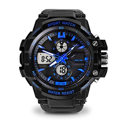 topcabin 30 m Wasserdicht Armbanduhr digital analog Studenten Armbanduhr Digital Kinder S Sport Armbanduhr mit Alarm Stoppuhr Chronograph blau schwarz