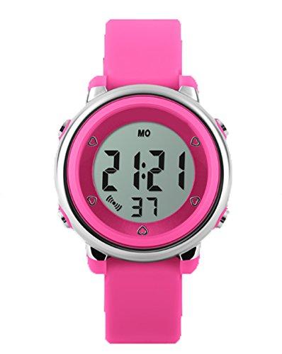topcabin Wasserdicht Armbanduhr Kinder Uhr Handgelenk von Jungen und Maedchen Studenten Jelly Farbe Fashion Persoenlichkeit Rose Rot