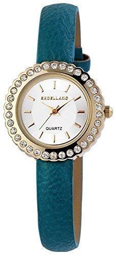 Uhr Bicolor Kunstlederarmband 20cm Tuerkis Dornschliesse 195603100018