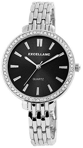 Uhr Schwarz Metallarmband 18cm Clipverschluss Silberfarbig 180321500036