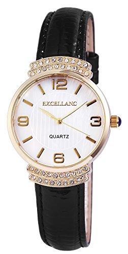 Excellanc Damen mit Quarzwerk 195002200217 Metallgehaeuse mit Kunstleder Armband und Dornschliesse Bandgesamtlaenge 23 cm Armbandbreite 18 mm