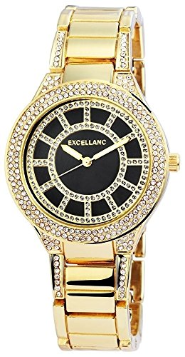 Excellanc Analog Metall 38 mm Gold Dunkelblau 152403000043