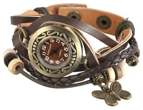 Excellanc Braun Analog Metall Leder Armbanduhr Wickelarmband Quarz