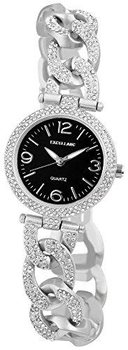 Excellanc Metallkettenarmband mit Strass Glitzer Farbe Silber Schwarz Anthrazit 152821000023