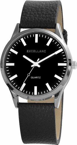 Excellanc Echtleder Lederarmband Uhr schwarz silber