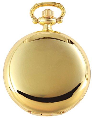 Excellanc Analog Taschenuhr mit Quarzwerk und Hakenverschluss 481002000004 Goldfarbiges Gehaeuse im Masse 42mm x 12mm mit Ziffernblattfarbe Weiss und Mineralglas