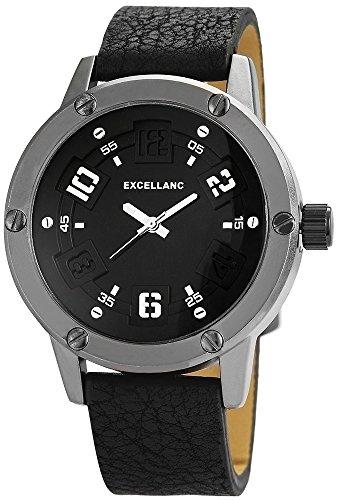 Excellanc Herrenuhr Lederimitationarmband Uhr Armbanduhr Anthrazit 295371000009