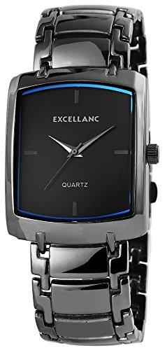 Excellanc Herren Analog Armbanduhr mit Quarzwerk 280173000041 und Metallgehaeuse mit Metallarmband in Anthrazit und Faltschliesse Ziffernblattfarbe blau Bandgesamtlaenge 19 cm Armbandbreite 24 mm