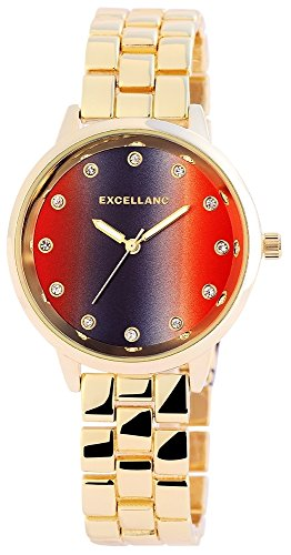 Excellanc Damen Analog Armbanduhr mit Quarzwerk 180801500007 und Metallgehaeuse mit Metallarmband in Goldfarbig und Faltschliesse Ziffernblattfarbe rot Bandgesamtlaenge 18 cm Armbandbreite 16 mm