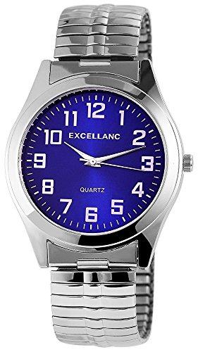 Excellanc Herren mit Quarzwerk 270023000001 Metallgehaeuse mit Metallzugband in Silberfarbig und Ziffernblattfarbe Blau Armbandbreite 20 mm
