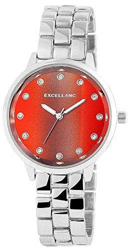Excellanc Damen mit Quarzwerk 180821500007 Metallgehaeuse mit Metall Armband in Silberfarbig und Faltschliesse Ziffernblattfarbe Rot Bandgesamtlaenge 18 cm Armbandbreite 16 mm