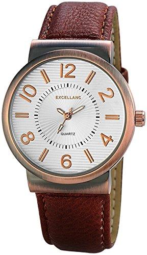 Excellanc Quartz Slim Men Watch braune Leder Armbanduhr analoge Herrenuhr