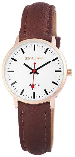 Excellanc Nice Trendy Women Watches analoge Leder Braun Quartz