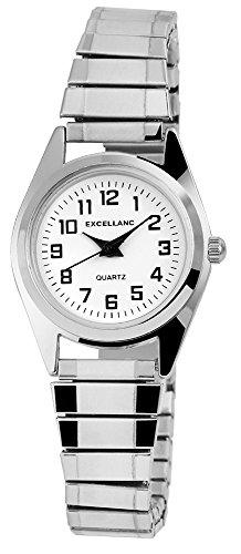 Excellanc Damen Zugband Uhr Armbanduhr Metallzugband silberfarben