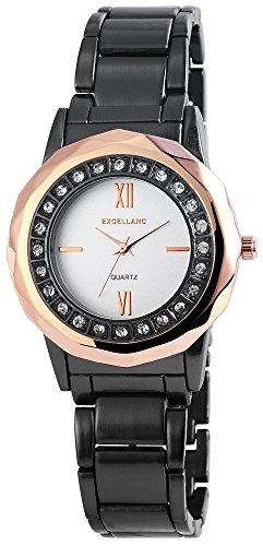 Exclusive Excellanc Armbanduhr Uhr Analog Anthrazit Roségoldfarben Strass 152872500024