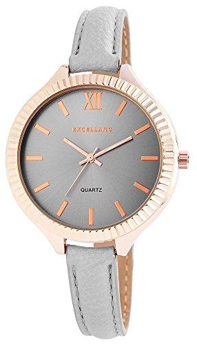 Exellanc Damenuhr Armbanduhr analog Armband grau Gehaeuse rosegoldfarben