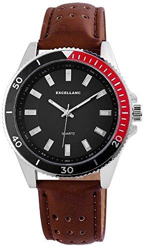 Uhr Schwarz Kunstlederarmband 24cm Dornschliesse Braun 295121500008