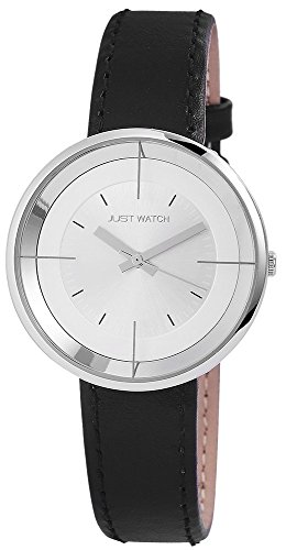 Uhr Silberfarbig Lederarmband 21cm Schwarz Dornschliesse JW13461 SL