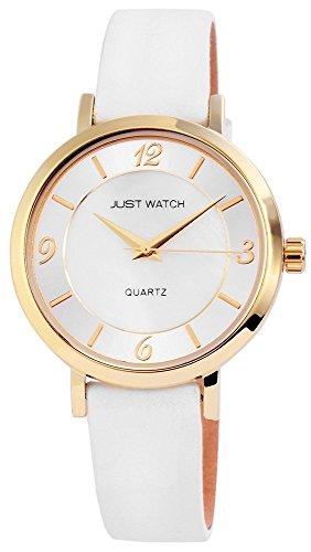 Just Watch Analog Echtleder 37 mm Weiss JW7149GD WH