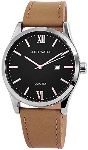 Just Watch Herren Armband Uhr Echt Leder Edelstahl 47 mm Braun Silber Grau Roemischer Index JW10234 BK