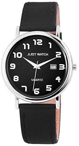 Just Watch Analog Herren Armband Uhr Echt Leder Gehaeuse Edel Stahl Datum Datums Anzeige 43 mm Schwarz Silber JW10772BK WH