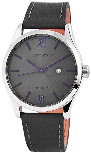 Just Watch Herren Armband Uhr Echt Leder Edelstahl 47 mm Anthrazit Grau Blau Roemischer Index JW10234 GR