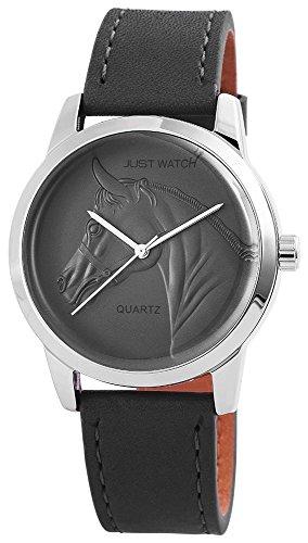 Unisexuhr Armbanduhr Lederarmband 24cm Dornschliesse Grau JW10232 GR