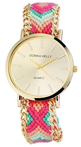 Donna Kelly Damen Analog Armbanduhr mit Quarzwerk 191104000002 und Metallgehaeuse mit Mehrfarbigem Kunstlederarmband Ziffernblattfarbe goldfarbig Bandgesamtlaenge 25 cm Armbandbreite 20 mm