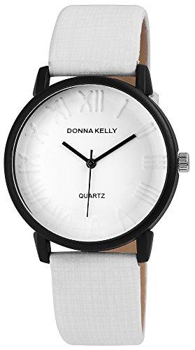 Donna Kelly Schwarz Quarzwerk und Metallgehaeuse rund 40mm x 10mm Kunstlederarmband Weiss 23cm x 20mm Dornschliesse und Ziffernblatt in weiss 191272000004