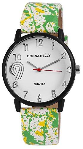 Donna Kelly Schwarz Quarzwerk und Metallgehaeuse rund 40mm x 10mm Kunstlederarmband Weiss 23cm x 20mm Dornschliesse und Ziffernblatt in weiss 191272000002