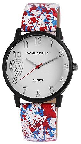 Donna Kelly Damenuhr analog Armbanduhr Schwarz Quarzwerk und Metallgehaeuse rund 40mm x 10mm Kunstlederarmband Weiss 23cm x 20mm Dornschliesse und Ziffernblatt in weiss 191272100002