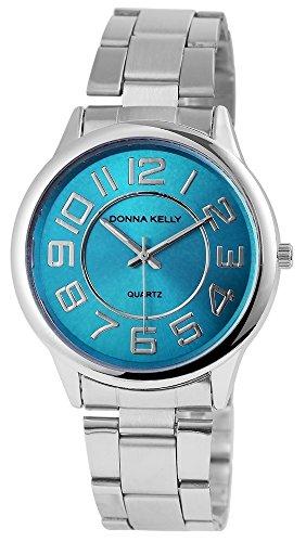 Donna Kelly Damen mit Quarzwerk 191323500001 Metallgehaeuse mit Edelstahl Armband in Silberfarbig und Faltschliesse Ziffernblattfarbe Hellblau Bandlaenge 19 cm Armbandbreite 20 mm