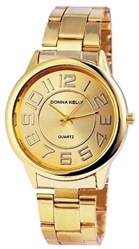 Donna Kelly Damen mit Quarzwerk 191304000001 Metallgehaeuse mit Edelstahl Armband in Goldfarbig und Faltschliesse Ziffernblattfarbe Goldfarbig Bandlaenge 19 cm Armbandbreite 20 mm