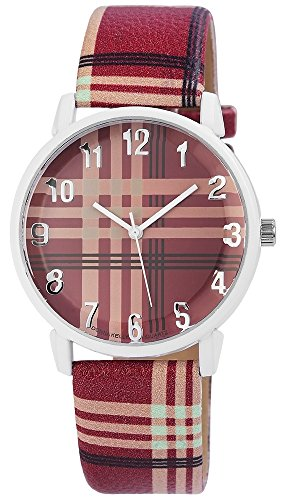 Donna Kelly Damen mit Quarzwerk 191295000001 Metallgehaeuse mit Kunstleder Armband in Bordeaux Rot und Dornschliesse Ziffernblattfarbe Mehrfarbig Bandlaenge 23 cm Armbandbreite 20 mm