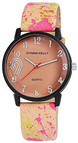 Donna Kelly Damen mit Quarzwerk 191275800002 Metallgehaeuse mit Kunstleder Armband in Hellbraun und Dornschliesse Ziffernblattfarbe Titanfarbig Bandlaenge 23 cm Armbandbreite 20 mm