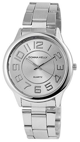 Donna Kelly Damen analog Armbanduhr mit Quarzwerk 191322500001 Metallgehaeuse mit Edelstahl Armband in Silberfarbig und Faltschliesse Ziffernblattfarbe Silber Bandlaenge 19 cm Armbandbreite 20 mm