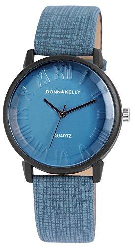 Donna Kelly Damen analog Armbanduhr mit Quarzwerk 191273000004 Metallgehaeuse mit Kunstleder Armband in Blau und Dornschliesse Ziffernblattfarbe Blau Bandgesamtlaenge 23 cm Armbandbreite 20 mm