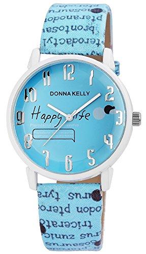 Donna Kelly Damen analog Armbanduhr mit Quarzwerk 191293000005 Metallgehaeuse mit Kunstleder Armband in Hellblau und Dornschliesse Ziffernblattfarbe Hellblau Bandgesamtlaenge 23 cm Armbandbreite 20 mm